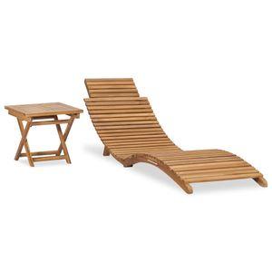 Klappbare Sonnenliege mit Tisch Massivholz Teak