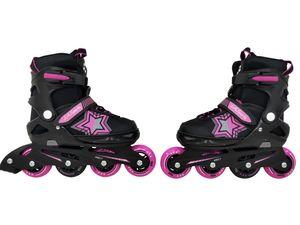 Inliner Skate Soft-Boot Kinder Jugend Damen Größenverstellung 5 Größen verstellbar Stars Pink, Größe:37-41
