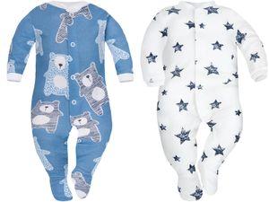 Baby Strampler Baby Schlafanzug Schlafstrampler Schlafoveral 2er Pack  68 Blau/Weiß