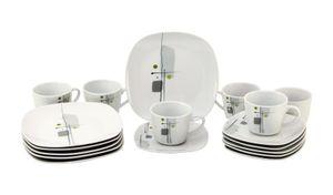 Kaffeeservice Lido 18tlg. leicht eckig Porzellan für 6 Personen weiß mit Nachbildung