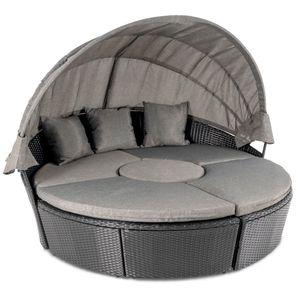 di volio Garten Sonneninsel - MILANO - Gartenmöbel Lounge Sommemliege schwarz/grau