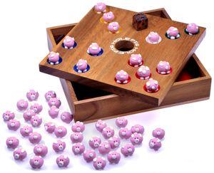 Pig Hole für 2 bis 6 Spieler - Spielfeld 18 x 18 cm - Big Hole - Schweinchenspiel - Würfelspiel - Gesellschaftsspiel - Brettspiel aus Holz inkl. 60 Schweinchen