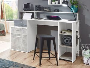 """Schreibtisch Bürotisch Computertisch Arbeitstisch Tisch Büromöbel """"Suzanne I"""" Weiß / Beton LA"""