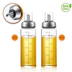 Ölspender Essigspender Tropffrei mit Skala Deckel Ölflasche Essigflasche Glas 2x 500ml