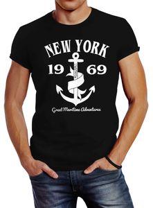 Herren T-Shirt Anker New York Slim Fit Neverless® schwarz XXL