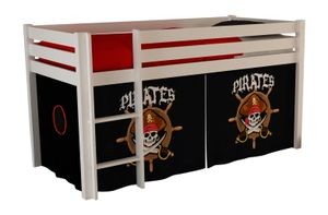 "Vipack Spielbett Pino mit Textilset ""Pirates"" - Kiefer massiv weiss lackiert, Maße: 210 cm x 114 cm x 106 cm; PICOHSZG1477"