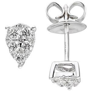JOBO Ohrstecker 585 Gold Weißgold 24 Diamanten Brillanten Ohrringe Diamantohrstecker