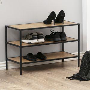Selsey Schuhbank KRAPINA - Schuhregal im Industrial-Style - 3 offene Fächer - 77 cm breit