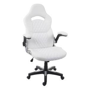 Bürostuhl HWC-F87, Schreibtischstuhl Chefsessel Drehstuhl, Kunstleder  weiß