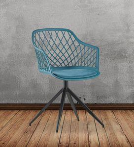 Stuhl Kunststoff drehbar mit Kissen versch. Farben KAWOLA türkis EMILIE