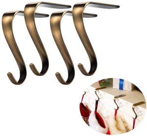 NightyNine 4 Stück Gold Kamin Haken für Weihnachtsstrumpf Halter Kamin Anhänger Tisch Handtaschenhalter Handtaschen Halterung Antirutsch Taschenhalter