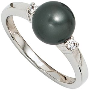 JOBO Damen Ring 925 Sterling Silber rhodiniert 2 Zirkonia Silberring Größe 60
