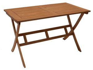 DEGAMO Gartentisch Klapptisch Esstisch Holztisch BONITA 120x70cm rechteckig, Eukalyptus Holz geölt