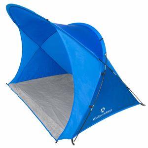XXL Strandmuschel inkl. UV-Schutz 30+ (Sonnenschutz) / Größe ca. 200x150x130cm in 4 coolen Farben (blau grün rot gelb) mit Tragetasche & 4x Zeltheringen zur sicheren Befestigung im Boden (windstabil) - Strandzelt mit 8,5mm Fiberglas-Gestänge (sehr stabil) - ideal für den Strand & den Garten.  Das Sonnenzelt / Windzelt »Robbe« ist perfekt für Famlien hellblau/navyblau
