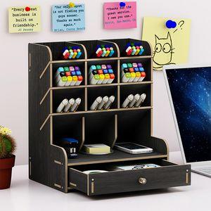 Holz Bambus Schreibtisch Organizer Regal Desktop Office Home Stift Halter