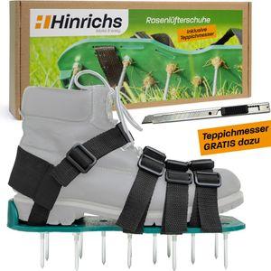 Hinrichs Rasenlüfterschuhe mit 4 Klemmriemen und rostfreien Dornen inklusieve Cuttermesser, Tragetasche und 3 Ersatznägeln