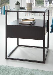 Beistelltisch Evora schwarz matt Couchtisch mit Metallgestell und Glasplatte 43 x 43 cm, Schubkasten