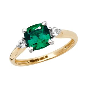Wunderschöner 9 Karat (375) Gold Damen - Ring mit Smaragd (synth.), Saphir (synth.), 53 (16.9); WJS20624
