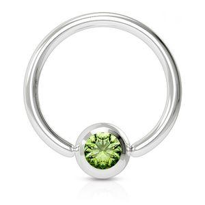 viva-adorno 1,6x12x5mm Universal Piercing Ring BCR Kristall Lippenring Klemmring Septumpiercing Brustpiercing Chirurgenstahl Z507,grün