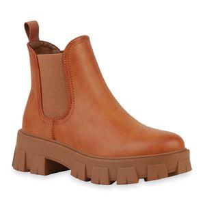 VAN HILL Damen Stiefeletten Plateau Boots Blockabsatz Profil-Sohle Schuhe 836326, Farbe: Hellbraun, Größe: 38