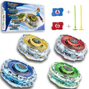 Kuultoy Beyblade Burst 4 er Kampfkreisel Set Beschleunigungslauncher 4D Fusion Modell Metall Masters für Kinder zum Geburstag als Geschenk Speed Kreisel