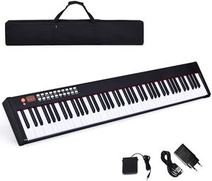 COSTWAY Digitales Piano Keyboard, elektronisches Klavier Keyboard mit Tragetasche, Musikgeschenke für Kinder und Anfänger Bluetooth / 128 Rhythmen/MIDI/USB-Schnittstelle 88-tasten