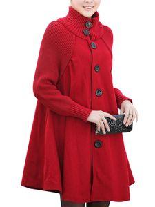 Frauen Wollmantel Trenchcoat Parka Jacke Winter High Collar Mantel Outwear Tops,Farbe:Rot,Größe:XXL