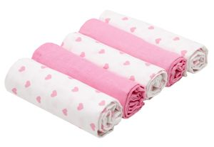 5er Set Spucktücher, Baumwolle, 80x80 cm, rosa und weiß mit Herzen