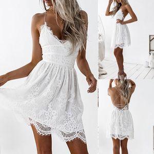 Frauen Sommer Backless Spitze Patchwork Kleid Abend Party Hosenträger Verbandkleid Größe:M,Farbe:Weiß