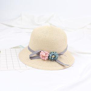 Kinder Maedchen Sommer Sun Strohhut Blume einstellbar Dome Panama Beach Holiday Cap【Beige 】