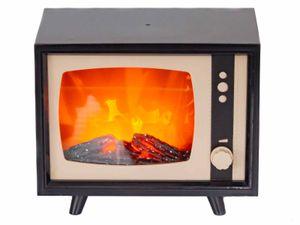 Firenze Home LED Kamin Retro Fernseher ca. 22 x 17 x 12 cm Dimmbar