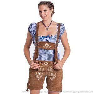 FROHSINN Trachten Damen Lederhose Gr. 36 - traditionelle mittellange Trachtenlederhose für Oktoberfest - Aktuelles 2020 Modell