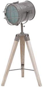 BRUBAKER Stehleuchte Industrial Design Tripod Lampe - 65 cm Höhe - Stativbeine aus Holz Scheinwerfer Grau Matt