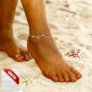 Fußkettchen Damen Silber Meer Seestern Perlen Strand Fußkette Fusskette Frauen