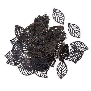 100 Stücke durchbohrt Baum Blätter Charme Anhänger Schmuck machen retro Kupfer wie beschrieben