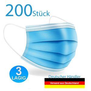 200 Stück Mundschutz-Masken 3 Lagig AtemschutzMasken Maske OP-Maske Einwegmaske