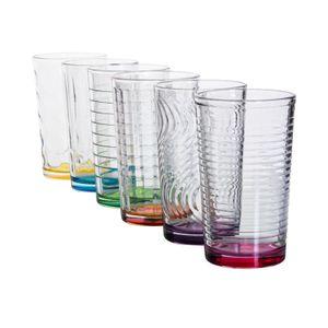 6 x Trinkglas bunt Wasserglas Wassergläser Trinkgläser Glas Gläser Saftglas