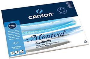 "CANSON Aquarellblock ""Montval"" rundum geleimt 400 x 500 mm 12 Blatt"