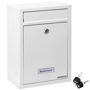 Monzana Briefkasten Wandbriefkasten Briefkastenanlage Postkasten Briefbox Stahl, Farbe:weiß