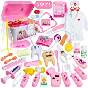 Arztkoffer Kinder 35 Teile Rollenspiele Arzt Zahnarzt Spielzeug Doktorkoffer Geschenke mit Arztkittel für Jungen Mädchen Rosa