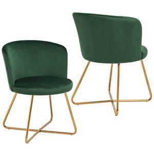 Duhome 2er Set Esszimmerstuhl Polsterstuhl aus Stoff Samt Dunkel Grün Metallgestell goldfarben