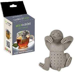 HelpCuisine® teesieb teeei teefilter tea infuser teekugel, Modernes Design, Niedliches Faultier aus hochwertigem Silikon 100% BPA frei, in der originalen HelpCuisine-Verpackung. (1St. Grau)