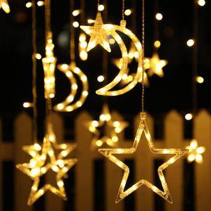 LED Vorhang Lichterketten Stern Mond Fee Girlande Hochzeitsfeier Weihnachten Nachbildung Lampe Warmweiß 3,5 m