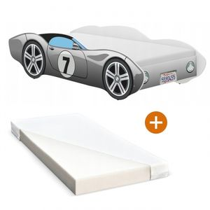 iGLOBAL Kinderbett Autobett Cars Bett Jugendbett Juniorbett Bett mit Lattenrost Stellage Schaumstoffmatratze Grau 140 x 70 cm
