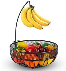 Obstkorb mit Bananenhaken, zeitgemäße Obstschale mit Halterung für Bananen aus Metalldraht