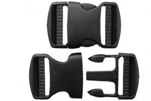 dalipo - Steckschnallen, 40mm, Kunststoff, 2 Stück - Farbe:  schwarz