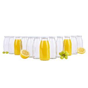 12er Set Saftflaschen 250ml Twist-Off Deckel TO43 weiß bauchig Glasflasche Karaffe Milch Flasche