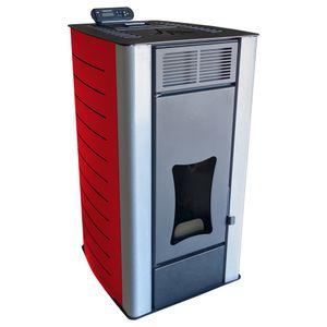Nemaxx PW18-RD Pelletofen Wasserführend 18 kW Pelletkaminofen Pelletheizung - Stahl Rot - für bis zu 300m³ - 90,8% Wirkungsgrad - A+