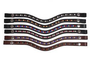 Stirnriemen Stirnband QHP Leder mit Strass Druckknopf Größe - Shetty Farbe - schwarz/rose