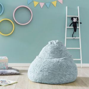 Lumaland Luxury Fluffy Sitzsack stylischer Webplüsch Beanbag 120L Füllung Pastell-Blau